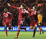 Gaston Ramirez of Middlesbrough celebrating after scoring the first goal of the game with team mate Christhian Stuani - Sky Bet Championship - Middlesbrough vs Wolverhampton Wanderers - Riverside Stadium - Middlesbrough - England - 4th of March 2016 - Picture Jamie Tyerman/Sportimage