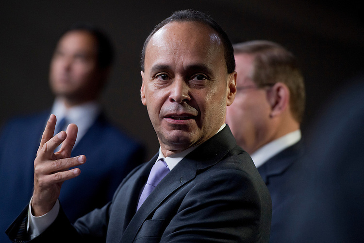 "UNITED STATES - NOVEMBER 28:  Rep. Luis Gutierrez, D-Ill., speaks at a news conference in the Capitol Visitor Center held by the Congressional Hispanic Caucus entitled ""One Nation: Principles on Immigration Reform and Our Commitment to the American Dream.""  (Photo By Tom Williams/CQ Roll Call)"