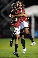 STANFORD, CA - NOVEMBER 14:  Lindsay Taylor celebrates with Christen Press after Press scores during Stanford's 2-0 win in the NCAA Women's Soccer first round over the UCSB Gauchos on November 14, 2008 at Laird Q. Cagan Stadium in Stanford, California.
