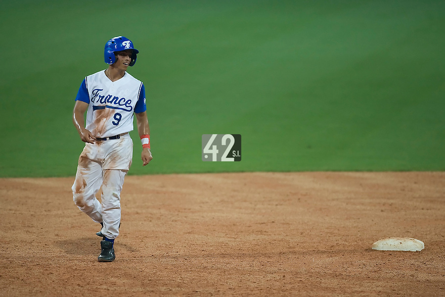 20 August 2007: #9 Yann Dal Zotto leads off of second base during the Czech Republic 6-1 victory over France in the Good Luck Beijing International baseball tournament (olympic test event) at the Wukesong Baseball Field in Beijing, China.