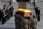 Former Prime Ministers, José Luis Rodríguez Zapatero, José María Aznar Felipe González and Prime Minister Mariano Rajoy during the arrival of the coffin before the funeral chapel in honor of Prime Minister Adolfo Suarez in the Congress of Deputies in Madrid, Spain. March 24, 2014. (ALTERPHOTOS / Marin Caro)
