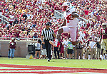 North Carolina State's Jaylen Samuels celebrates as he scores against Florida State in the second half of an NCAA college football game in Tallahassee, Fla., Saturday, Sept. 23, 2017.  NC State defeated Florida State 27-21. (AP Photo/Mark Wallheiser)