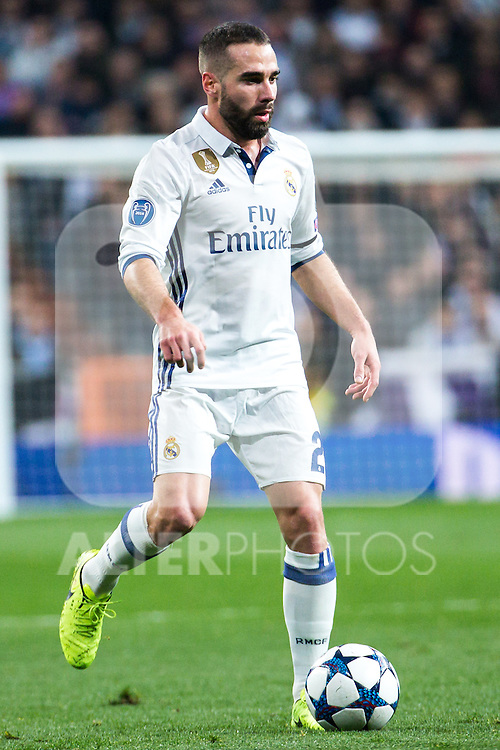 Daniel Carvajal of Real Madrid in action during the match of Champions League between Real Madrid and SSC Napoli  at Santiago Bernabeu Stadium in Madrid, Spain. February 15, 2017. (ALTERPHOTOS)