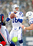 3 January 2010: Indianapolis Colts' quarterback Peyton Manning looks for a receiver during a game against the Buffalo Bills on a cold, snowy, final game of the season at Ralph Wilson Stadium in Orchard Park, New York. The Bills defeated the Colts 30-7. Mandatory Credit: Ed Wolfstein Photo