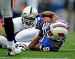 21 September 2008: Buffalo Bills' wide receiver Josh Reed gains 16 yards and a first down in the 4th quarter against the Oakland Raiders at Ralph Wilson Stadium in Orchard Park, NY. The Bills rallied for 10 unanswered points in the 4th quarter to defeat the Raiders 24-23 marking their first 3-0 start of the season since 1992...Mandatory Photo Credit: Ed Wolfstein Photo