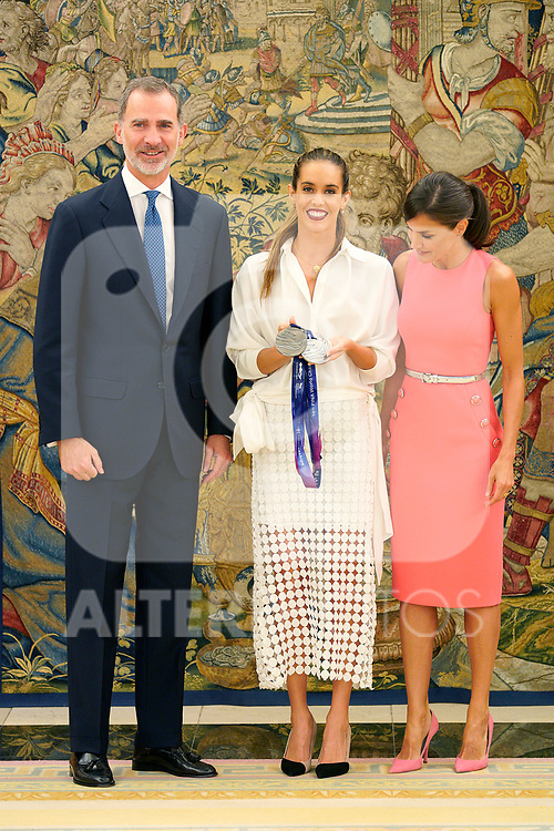 King Felipe VI of Spain (l) and Queen Letizia of Spain (r) attend audience with the swimmer and world champion, Ona Carbonell Ballestero. July 23,2019. (ALTERPHOTOS/Acero)
