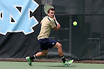 05 April 2015: Notre Dame's Eddy Covalschi. The University of North Carolina Tar Heels hosted the University of Notre Dame Fighting Irish at Cone-Kenfield Tennis Center in Chapel Hill, North Carolina in a 2014-15 NCAA Division I Men's Tennis match. UNC won the match 5-2.