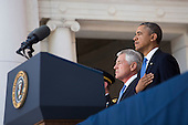 From L to R, United States Secretary of Defense Chuck Hagel and U.S. President Barack Obama stand for the National Anthem prior to President Obama's remarks during a Memorial Day event at Arlington National Cemetery, May 26, 2014 in Arlington, Virginia. President Obama returned to Washington Monday morning after a surprise visit to Afghanistan to visit U.S. troops at Bagram Air Field. <br /> Credit: Drew Angerer / Pool via CNP