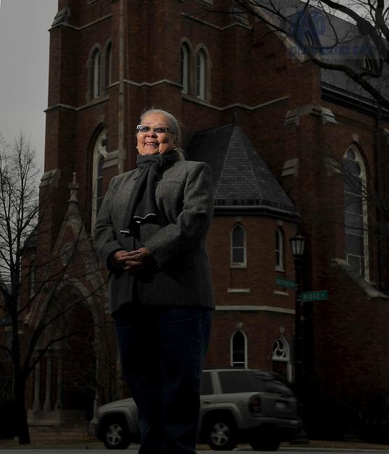 Nov. 29, 2010; Margo Butler, photographed outside St. Nicholas Catholic Chuch in Evanston, Ill.  For Notre Dame Magazine..Photo by Matt Cashore/University of Notre Dame