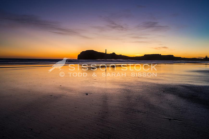 Castlepoint lighthouse evening silhouette, Coastal Wairarapa, New Zealand - stock photo, canvas, fine art print