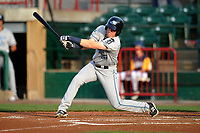 West Michigan Whitecaps designated hitter Cole Bauml (16) swings during a game against the Burlington Bees at Community Field on May 11, 2017 in Burlington, Iowa.  The Whitecaps won 10-3.  (Dennis Hubbard/Four Seam Images)