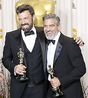02/24/13 Hollywood, CA: Ben Affleck and George Clooney backstage after Argo won the Oscar for Best Picture