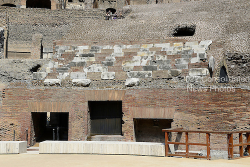Restored seating area at the Colosseum, also known as the Flavian Amphitheatre in Rome, Italy on Friday, May 25, 2012.  The original seats were made of marble.  This photo was taken from the restored floor of the structure..Credit: Ron Sachs / CNP
