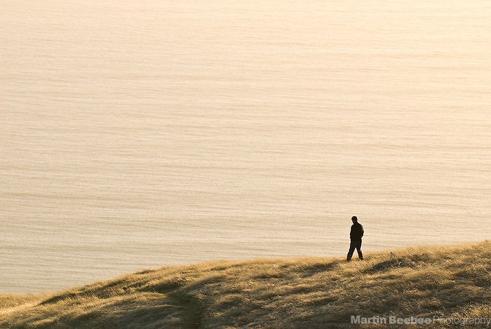 A man walks along a coastal bluff in Mount Tamalpais State Park, California