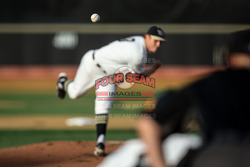 Wake Forest Demon Deacons starting pitcher Colin Peluse (8) delivers a pitch to the plate against the North Carolina State Wolfpack at David F. Couch Ballpark on April 18, 2019 in  Winston-Salem, North Carolina. The Demon Deacons defeated the Wolfpack 7-3. (Brian Westerholt/Four Seam Images)