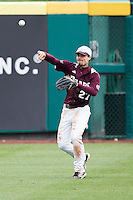 Dylan Becker #27 of the Missouri State Bears throws a ball back into the infield during a game against the Wichita State Shockers at Hammons Field on May 5, 2013 in Springfield, Missouri. (David Welker/Four Seam Images)