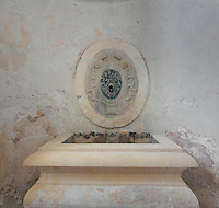 Fountain in the Vestibule of the Phare de Cordouan or Cordouan Lighthouse, built 1584-1611 in Renaissance style by Louis de Foix, 1530-1604, French architect, located 7km at sea, near the mouth of the Gironde estuary, Aquitaine, France. This is the oldest lighthouse in France. There are 4 storeys, with keeper apartments and an entrance hall, King's apartments, chapel, secondary lantern and the lantern at the top at 68m. Parabolic lamps and lenses were added in the 18th and 19th centuries. The lighthouse is listed as a historic monument. Picture by Manuel Cohen