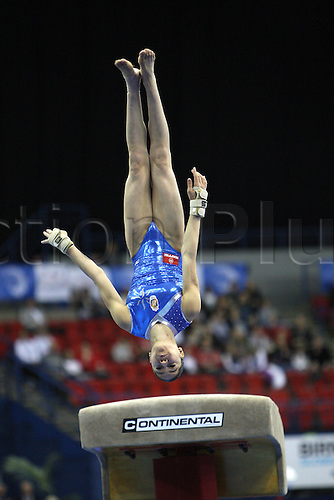 Maria Paula Vargas of Spain competes at the vault during the juniors women apparatus final at the European Artistic Gymnastics Championship at National Indoor Arena in Birmingham, UK on May 2, 2010.
