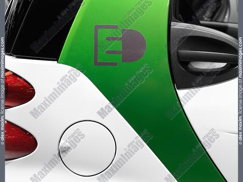 Plug-in electric car Smart ForTwo power socket charging port closeup