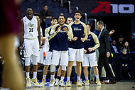 Washington, DC - MAR 7, 2018: The George Washington Colonials bench celebrates a late run that gives them the lead before halftime in game between G.W. and Fordham during first round action of the Atlantic 10 Basketball Tournament at the Capital One Arena in Washington, DC. (Photo by Phil Peters/Media Images International)