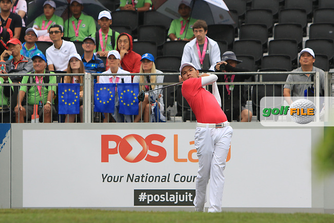 Phachara Khongwatmai (Asia) on the 1st tee during the Friday Foursomes of the Eurasia Cup at Glenmarie Golf and Country Club on the 12th January 2018.<br /> Picture:  Thos Caffrey / www.golffile.ie