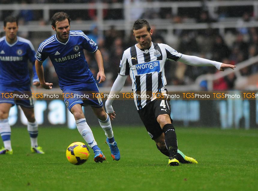 Yohan Cabaye of Newcastle United battles with Juan Mata of Chelsea - Newcastle United vs Chelsea - Barclays Premier League Football at St James Park, Newcastle upon Tyne - 02/11/13 - MANDATORY CREDIT: Steven White/TGSPHOTO - Self billing applies where appropriate - 0845 094 6026 - contact@tgsphoto.co.uk - NO UNPAID USE