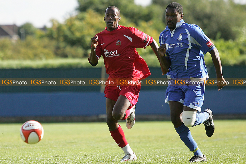 Dewayne Clarke of Harrow chased by Simon Peddie of Redbridge - Redbridge vs Harrow Borough - FA Cup 2nd Qualifying Round Football at Oakside - 25/09/10 - MANDATORY CREDIT: George Phillipou/TGSPHOTO - Self billing applies where appropriate - 0845 094 6026 - contact@tgsphoto.co.uk - NO UNPAID USE..