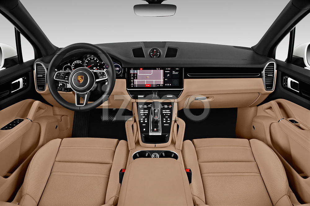 Stock photo of straight dashboard view of a 2019 Porsche Cayenne Base 5 Door SUV