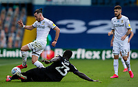 Leeds United's Jack Harrison is tackled by Charlton Athletic's Mouhamadou-Naby Sarr<br /> <br /> Photographer Alex Dodd/CameraSport<br /> <br /> The EFL Sky Bet Championship - Leeds United v Charlton Athletic - Wednesday July 22nd 2020 - Elland Road - Leeds <br /> <br /> World Copyright © 2020 CameraSport. All rights reserved. 43 Linden Ave. Countesthorpe. Leicester. England. LE8 5PG - Tel: +44 (0) 116 277 4147 - admin@camerasport.com - www.camerasport.com