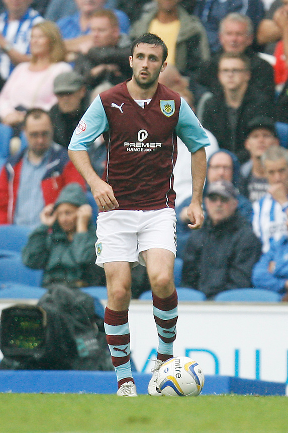 Burnley's Danny Lafferty in action during todays match  <br /> <br /> (Photo by Jack Phillips/CameraSport)<br /> <br /> Football - The Football League Sky Bet Championship - Brighton and Hove Albion v Burnley - Saturday 24th August 2013 - American Express Community Stadium - Brighton<br /> <br /> &copy; CameraSport - 43 Linden Ave. Countesthorpe. Leicester. England. LE8 5PG - Tel: +44 (0) 116 277 4147 - admin@camerasport.com - www.camerasport.com