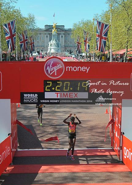 Edna Kiplagat (KEN) wins the womens race. Virgin Money London Marathon. London. UK. 13/04/2014. MANDATORY Credit Garry Bowden/Sportinpictures - NO UNAUTHORISED USE - 07837 394578