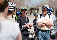 Occidental College hosts New York City Transportation Commissioner Janette Sadik-Khan '82 as she takes a bicycle tour of the neighborhood from Herrick Chapel to the Highland Park Metro station on Friday, March 19, 2010. Students, faculty, staff and the public took part.<br />