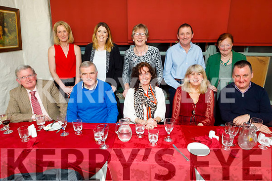 The staff and Board of Management of Derryquay NS enjoying the evening in Cassidys on Friday.<br /> Seated l to r: Joe Mannix, Sean O'Móráin, Catriona Megan, Mary Wallace and Fr Francis Nolan.<br /> Back l to r: Brid NiGearalth, Íde Brosnan, Phil Leen, Seamus and Margaret O'Shea.