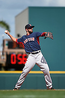Boston Red Sox shortstop Deven Marrero (64) during a Spring Training game against the Pittsburgh Pirates on March 12, 2015 at McKechnie Field in Bradenton, Florida.  Boston defeated Pittsburgh 5-1.  (Mike Janes/Four Seam Images)