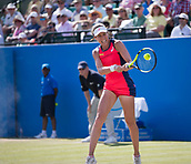 June 18th 2017, Nottingham, England; WTA Aegon Nottingham Open Tennis Tournament day 7 finals day;  Backhand form Johanna Konta of Great Britain in her match against Donna Vekic of Croatia