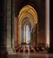 Ambulatory behind the choir, Chartres Cathedral, Eure-et-Loir, France. Chartres cathedral was built 1194-1250 and is a fine example of Gothic architecture. It was declared a UNESCO World Heritage Site in 1979. Picture by Manuel Cohen