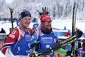 9th December 2017, Biathlon Centre, Hochfilzen, Austria; IBU Biathlon World Cup; Johannes Thingnes Boe (NOR), Jakov Fak (SLO) who placed 1st and 2nd in the mens 12.5KM pursuit