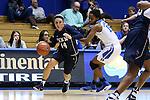 13 November 2016: Penn's Beth Brzozowski (14) and Duke's Kyra Lambert (15). The Duke University Blue Devils hosted the University of Pennsylvania Quakers at Cameron Indoor Stadium in Durham, North Carolina in a 2016-17 NCAA Division I Women's Basketball game. Duke defeated Penn 68-55.