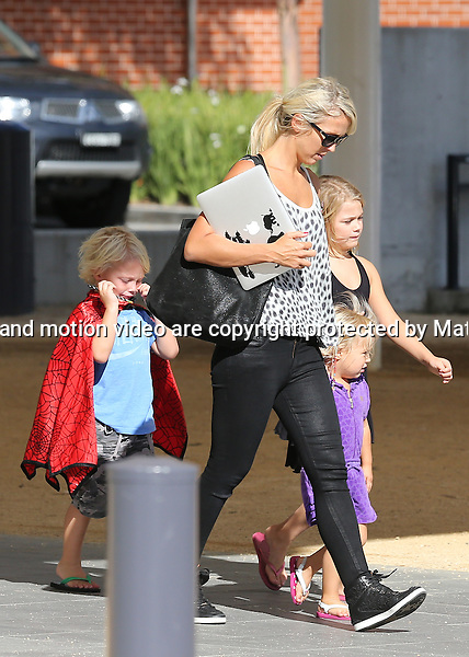 13 NOVEMBER  2013 SYDNEY AUSTRALIA<br /> <br /> EXCLUSIVE PICTURES<br /> <br /> Bec Hewitt pictured with Mia, Cruz and Ava leaving a Rouse Hills shopping centre. Mia was wearing a little black dress while Ava wore a little purple playsuit. Young Cruz was wearing his Spiderman cape for the second day running.<br /> <br /> *No internet without clearance*.<br /> MUST CALL PRIOR TO USE <br /> +61 2 9211-1088. <br /> <br /> Matrix Media Group.Note: All editorial images subject to the following: For editorial use only. Additional clearance required for commercial, wireless, internet or promotional use.Images may not be altered or modified. Matrix Media Group makes no representations or warranties regarding names, trademarks or logos appearing in the images.