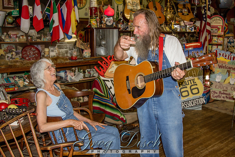 "The Sandhills Curiosity Shop on Route 66 in Erick Oklahoma is indeed a curiosity.  Harley and Annabelle Russell the ""Mediocre Music Makers"" perform and entertain travelers on Route 66 with there singing and antics.  They have a store full of memorabilia, but don't have anything for sale, only for the enjoyment of those who stop to visit."