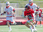 Palos Verdes, CA 03/26/16 - Ryan Crawford (San Clemente #18) and Jarrett Jones (Palos Verdes #6) in action during the CIF Boys Lacrosse game between San Clemente Tritons and the Palos Verdes Seakings at Palos Verdes High School.  Palos Verdes defeated San Clemente 11-6