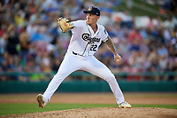 Kane County Cougars starting pitcher Mack Lemieux (22) delivers a pitch during a game against the West Michigan Whitecaps on July 19, 2018 at Northwestern Medicine Field in Geneva, Illinois.  Kane County defeated West Michigan 8-5.  (Mike Janes/Four Seam Images)