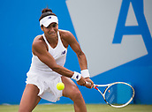 June 13th 2017, Nottingham, England; WTA Aegon Nottingham Open Tennis Tournament day 4;  Heather Watson of Great Britain lines up a backhand in her game against Alison Riske of USA