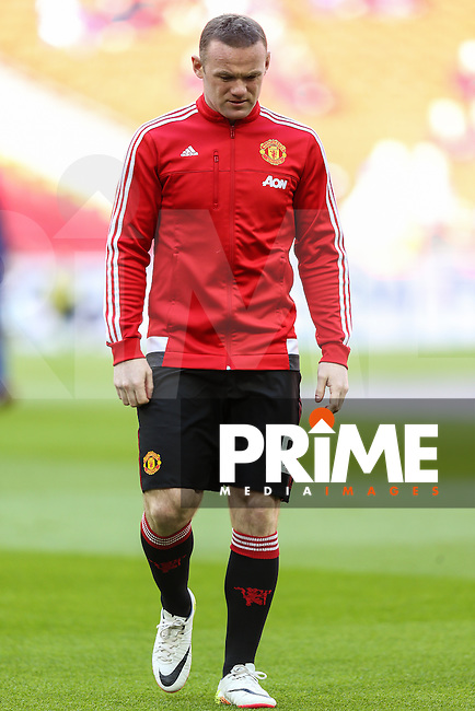 Wayne Rooney of Manchester United warms up ahead of the FA Cup Semi-Final match between Everton and Manchester United at Wembley Stadium, London, England on 23 April 2016. Photo by David Horn / PRiME Media Images.