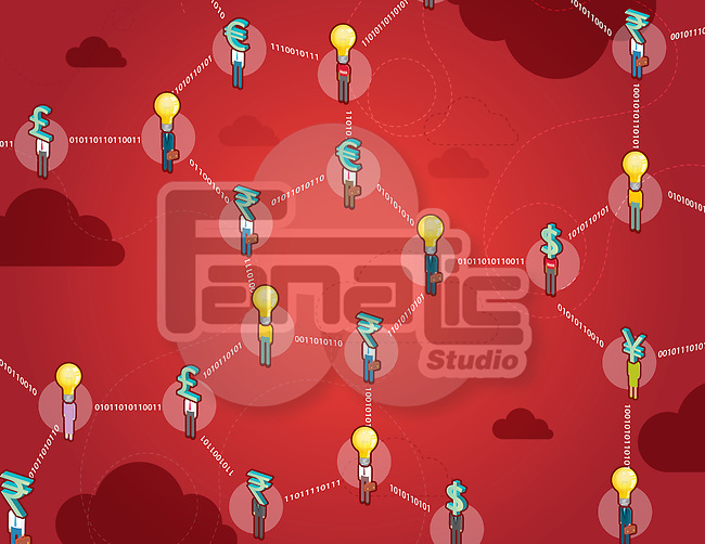 Currencies with light bulbs in DNA structure over red background depicting business network