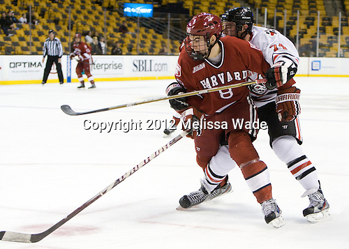 Patrick McNally (Harvard - 8), Vinny Saponari (Northeastern - 74) - The Harvard University Crimson defeated the Northeastern University Huskies 3-2 in the 2012 Beanpot consolation game on Monday, February 13, 2012, at TD Garden in Boston, Massachusetts.