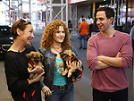 Laurie Metcalf, Bernadette Peters and Santino Fontana, with dogs from The Humane Society of New York, filming a promo for the Broadway Barks 2019 Announcement at Shubert Alley on June 20, 2019 in New York City.