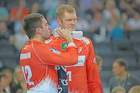 Max-Henri Hermann und Jogi Bitter (HSV) - Tag des Handball, Rhein-Neckar Löwen vs. Hamburger SV, Commerzbank Arena