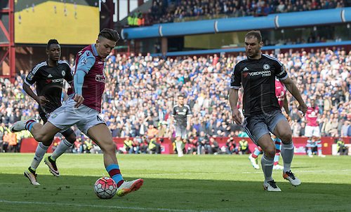 02.04.2016. Villa Park, Birmingham, England. Barclays Premier League. Aston Villa versus Chelsea.  Aston Villa midfielder Jack Grealish on the attack with the ball as he prepares to cross the ball in to the Chelsea goal area.