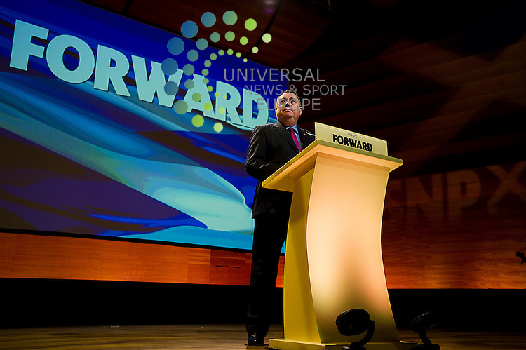 The 78th Annual Conference of the Scottish National Party takes place in Perth Concert Hall, Perth, Scotland, 20th October, 2012. Pictured Alex Salmond speech introduced by Nicola Sturgeon.Picture:Scott Taylor Universal News And Sport (Europe) .All pictures must be credited to www.universalnewsandsport.com. (Office)0844 884 51 22.
